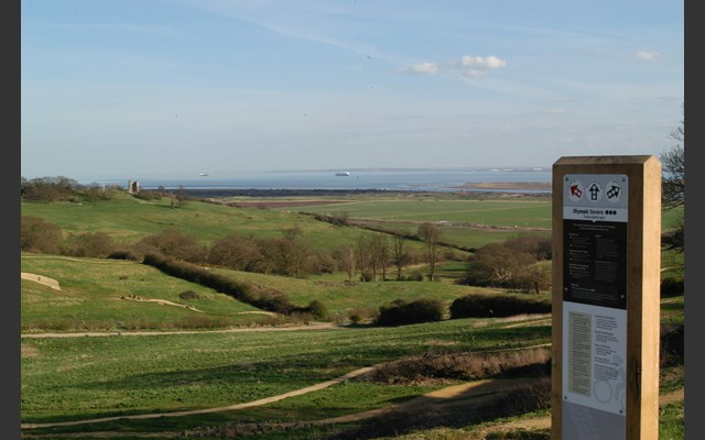 Park signage with Hadleigh Park landscape in the background