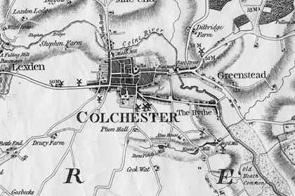 Colchester Map showing old house