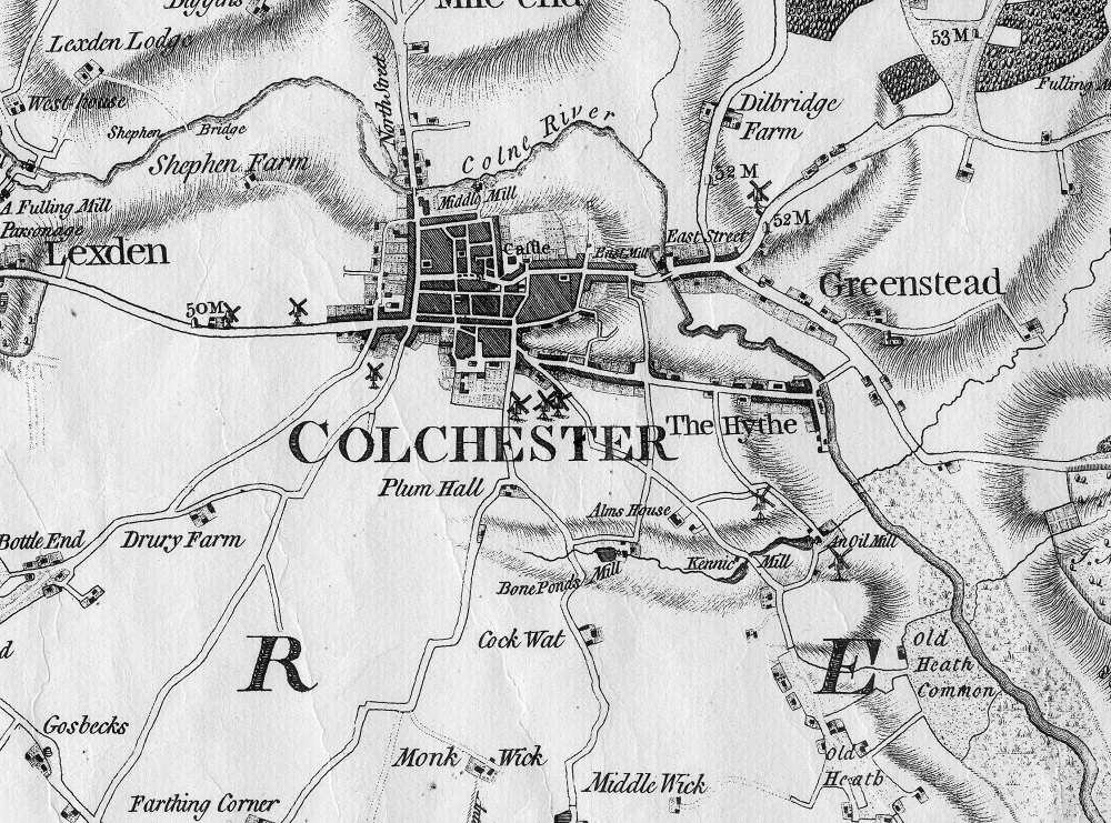 Map showing historic house in Colchester